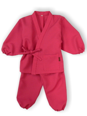 子供作務衣(かぐらB1515-つつじ)(サイズ:80)