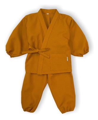 子供作務衣(かぐらB1515-からし)(サイズ:80)