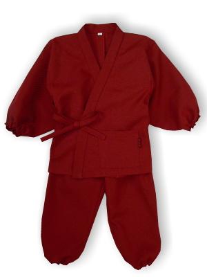 子供作務衣(かぐらB1515-えんじ)(サイズ:80)