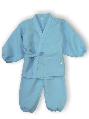 子供作務衣(かぐらB1515-水色)(サイズ:80)