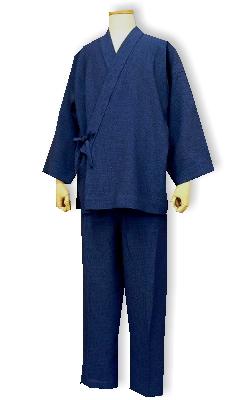 ポリエステルの作務衣(麻ライク7379-5ネイビー)
