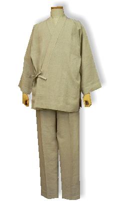 麻の作務衣(麻ピュアリネン-サンドベージュ)